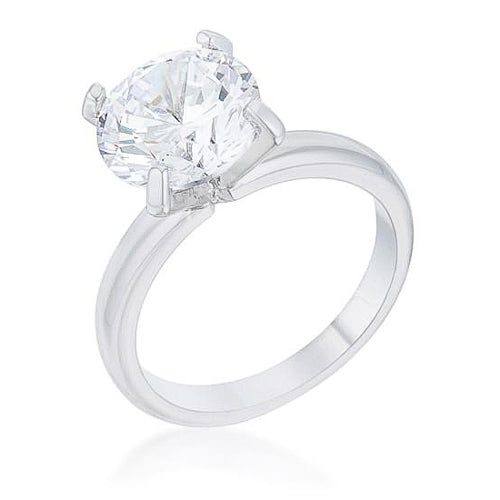 Hanna 4.4ct CZ Rhodium Classic Solitaire Ring