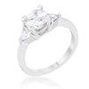 Shonda 1.8ct Clear CZ Rhodium Cushion Classic Statement Ring
