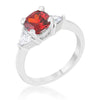 Shonda 1.8ct Ruby CZ Rhodium Cushion Classic Statement Ring