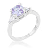 Shonda 1.8ct Lavender CZ Rhodium Cushion Classic Statement Ring