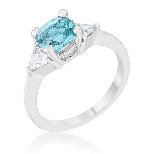 Shonda 1.8ct Blue Topaz CZ Rhodium Cushion Classic Statement Ring