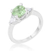 Shonda 1.8ct Peridot CZ Rhodium Cushion Classic Statement Ring