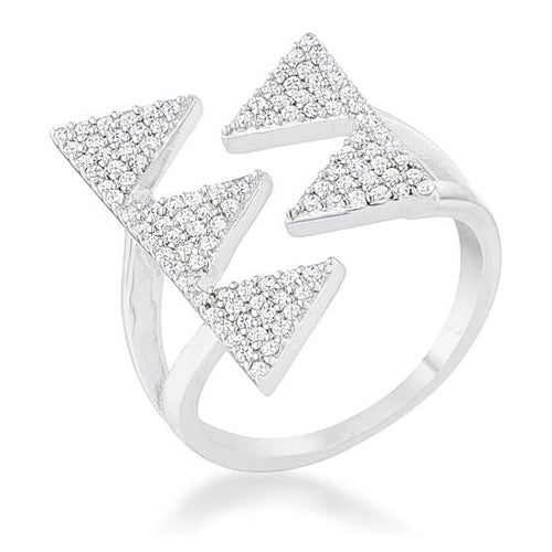 Nori 0.63ct CZ Rhodium Geometric Contemporary Ring