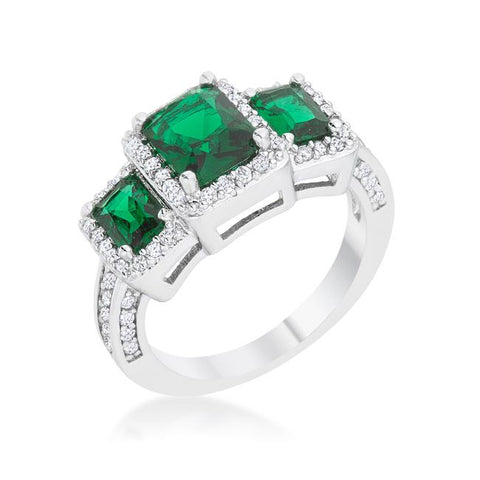 Rita 2.3ct Emerald CZ Rhodium Classic Trio Ring