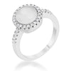 Patricia 0.3ct CZ White Cat's Eye Rhodium Classic Ring