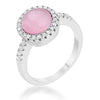 Patricia 0.3ct CZ Pink Cat's Eye Rhodium Classic Ring
