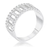 Rey 0.5ct CZ Rhodium Contemporary Band Ring