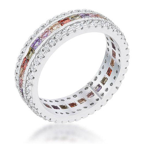 Paula 1.75ct Multicolor CZ Classic Band Ring