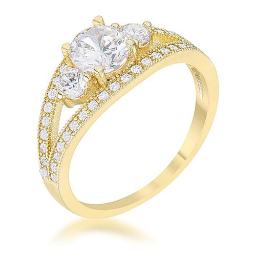 Genna 1.1ct CZ 14k Gold Delicate Classic Ring