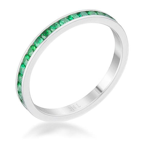 Teresa 0.5ct Emerald CZ Stainless Steel Eternity Band