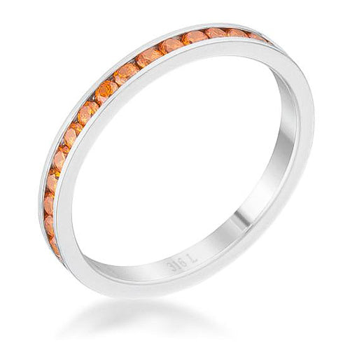 Teresa 0.5ct Orange CZ Stainless Steel Eternity Band