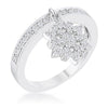 Snowflake 0.35ct CZ Rhodium Simple Holiday Charm Band Ring