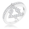 Christmas Tree 0.3ct CZ Rhodium Simple Holiday Charm Band Ring