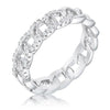 Interlocking Rhodium Chain Design Ring with Cubic Zirconia