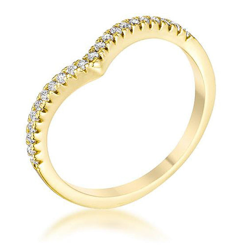 .22Ct Goldtone Chevron Ring with CZ