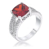 3Ct Elegant Rhodium Plated Criss-Cross Garnet CZ Engagement Ring