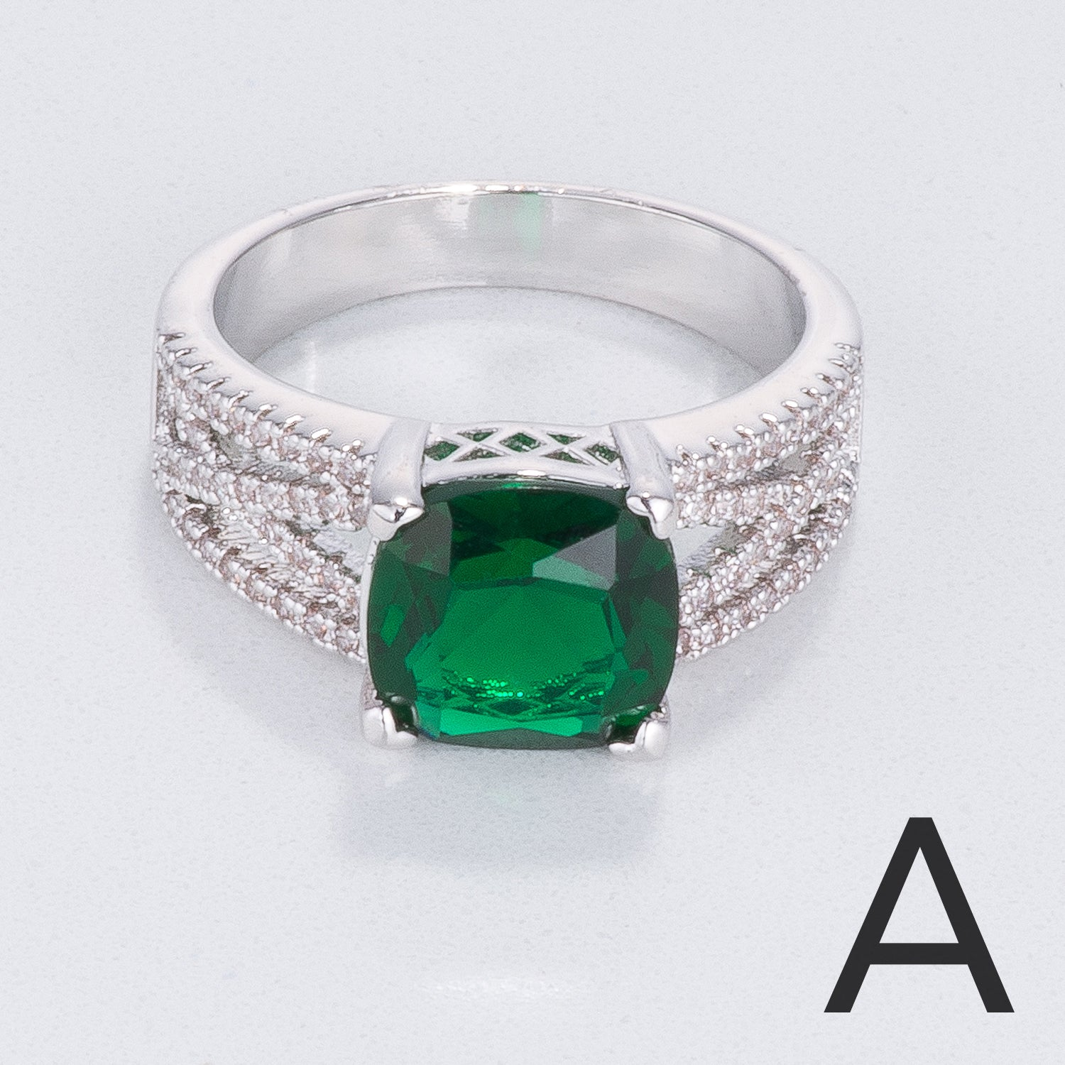 s sterling emerald ring silver addiction rings green cz three stone eve