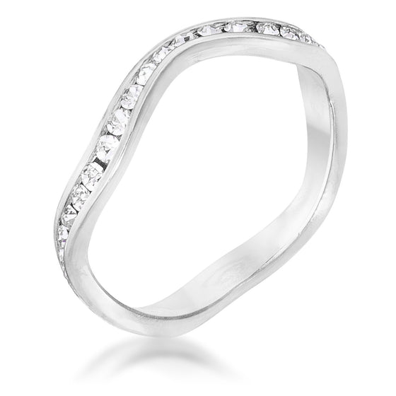 Rhodium Plated Petite Wavy Channel Set Crystal Stackable Ring