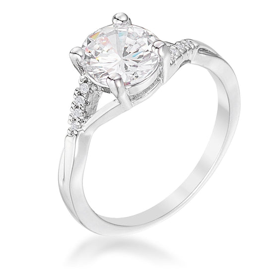 1.3Ct Silvertone Simple Engagement Ring