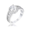 2.1Ct Silvertone Solitaire Engagement Halo Ring