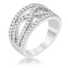 .4Ct Silvertone Classic Twist Wide CZ Ring
