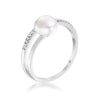 .15Ct Rhodium Plated Freshwater Pearl Ring With CZ Micro Pave Band