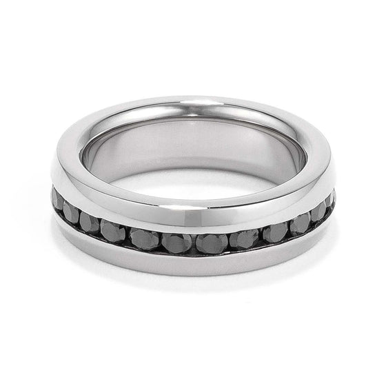 Black CZ Stainless Steel Eternity Band