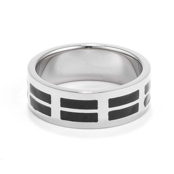 Men's 8MM Stainless Steel and Black Enamel Band