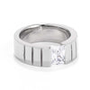 Men's 8MM Stainless Steel Band with Tension Set Radiant Cut CZ