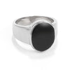 Men's Stainless Steel Oval Black Enamel Ring