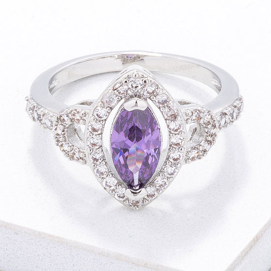 Vintage Purple CZ Halo Ring