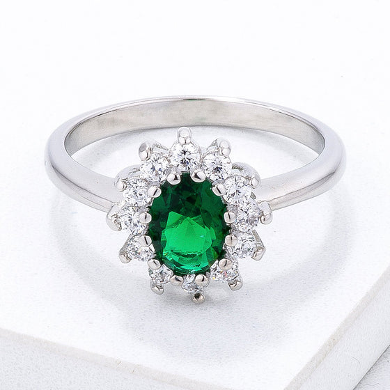 Emerald Green CZ Mini Royal Ring