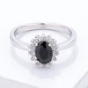 Black & Clear CZ Petite Oval Ring