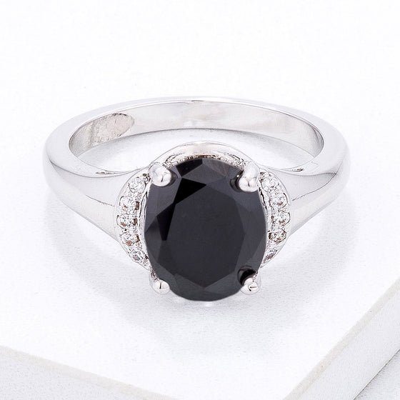 Simple Black & Clear CZ Oval Engagement Style Ring