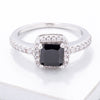 Black & White CZ Princess Halo Ring