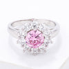 Pink CZ Sunburst Halo Cocktail Ring