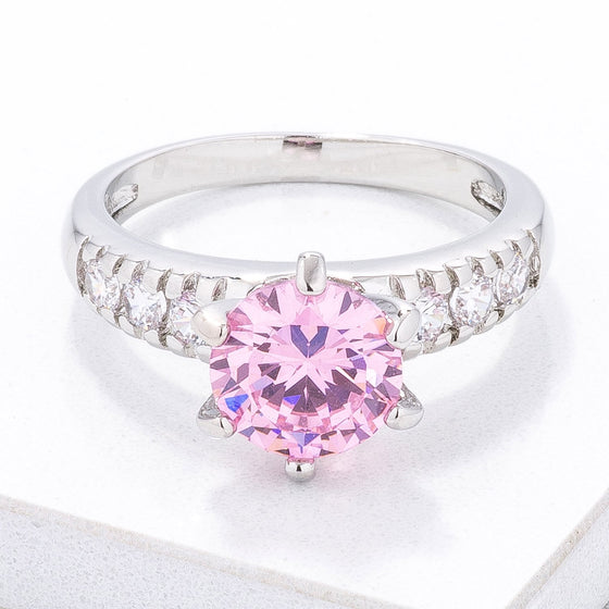 Simple Six Prong Pink CZ Engagement Ring
