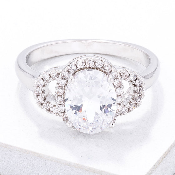 Exquisite Clear Oval Pave Engagment Ring