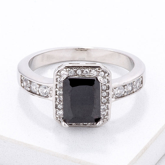 Elegant Black Emerald Cut CZ Ring