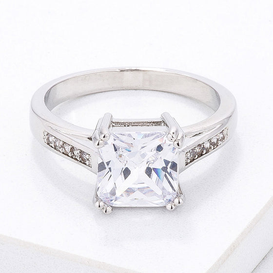 Classic Clear Princess Cut CZ Engagement Ring