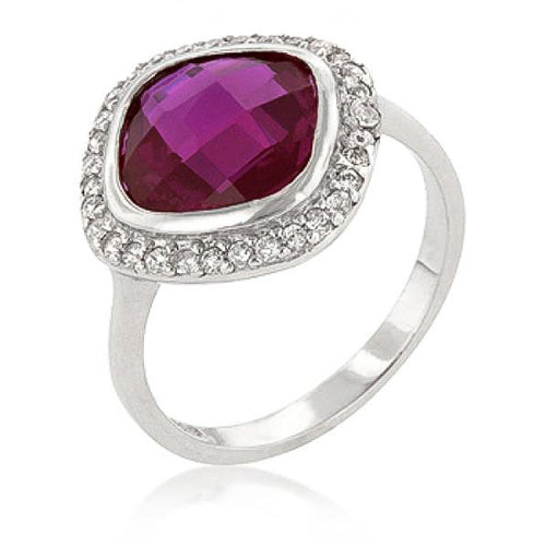 Erina 3ct Fuchsia CZ Sterling Silver Cocktail Ring