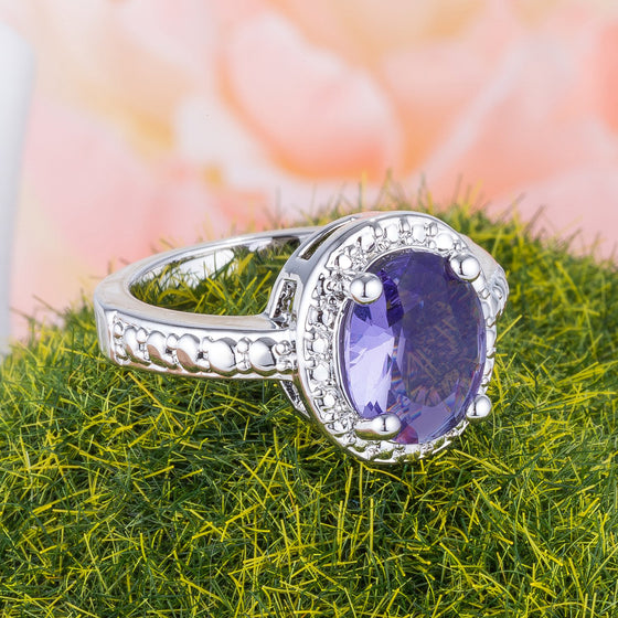 Vintage Purple Oval CZ Cocktail Ring