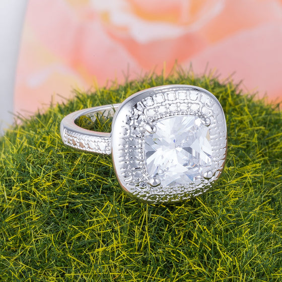 Doorbuster Textured Clear CZ Cocktail Ring