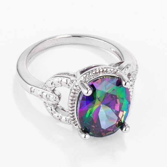 Magnificent Vintage Simulated Mystic Topaz Oval CZ Cocktail Ring