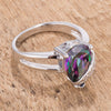 Elegant Simulated Mystic Topaz CZ Teardrop Ring