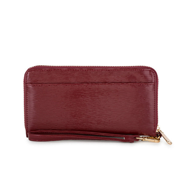 Kate Burgundy Faux Textured Leather Clutch