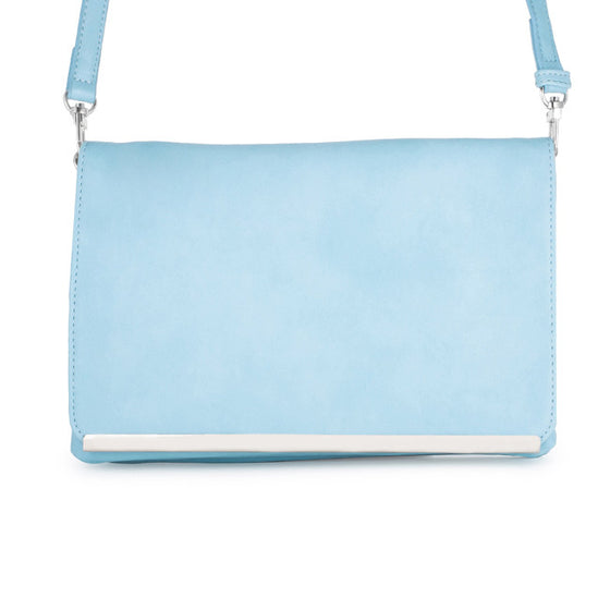 Martha Blue Leather Purse Clutch With Silver Hardware