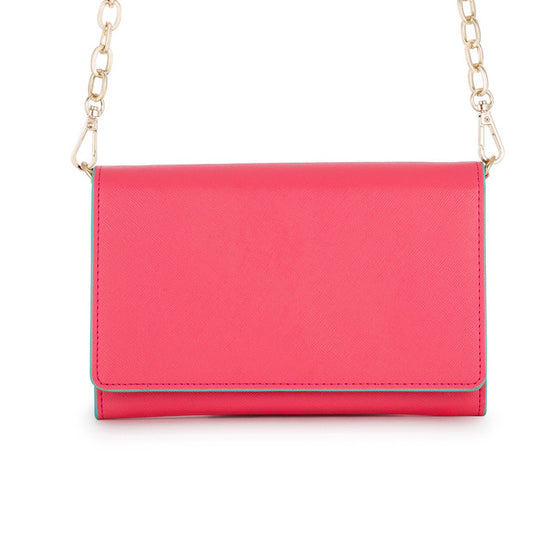Carly Coral Leather Purse Clutch With Gold Chain Crossbody