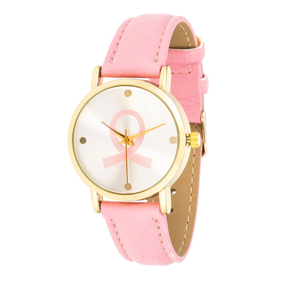 Breast Cancer Awareness Watch with Pink Band and Goldtone Case