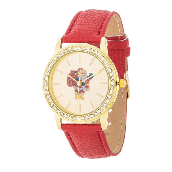 Gold Santa Crystal Watch With Red Leather Strap